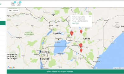 dashboard with farmer locations