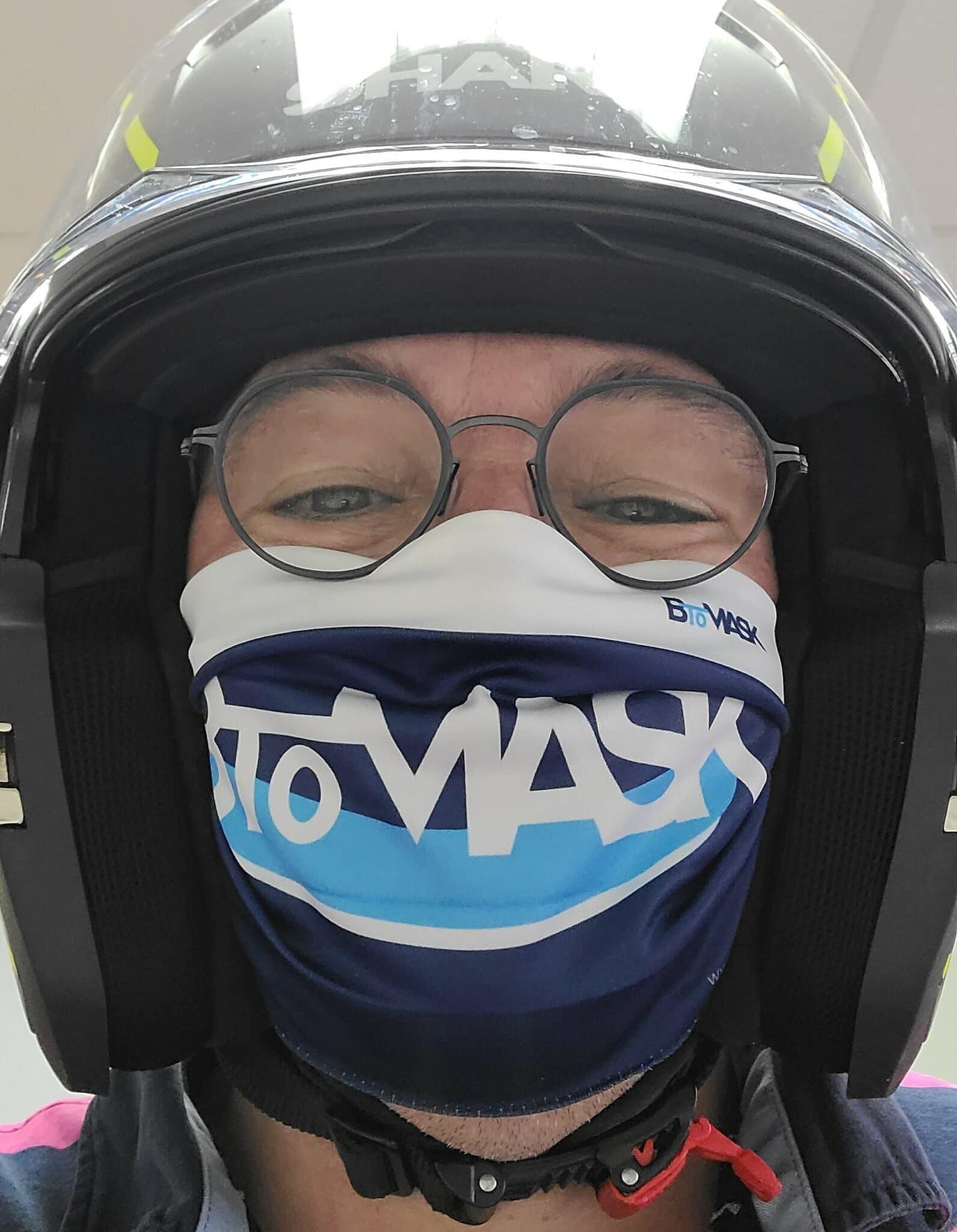 Masque Btomask avec casque moto